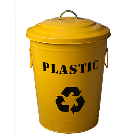 "Round metal recycling bin ""Plastic"" yellow 24.5 litres"
