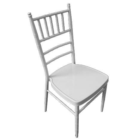 White catering chair with metal frame 92cm