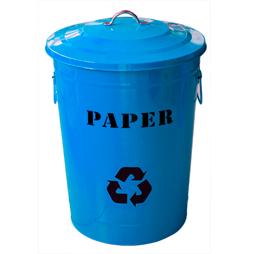 "Round metal recycling bin ""Paper"" with lid blue 49 litres"