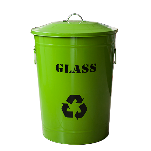 "Round metal recycling bin ""Glass"" green 49 litres"