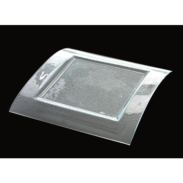 Square clear glass plate 26x26cm