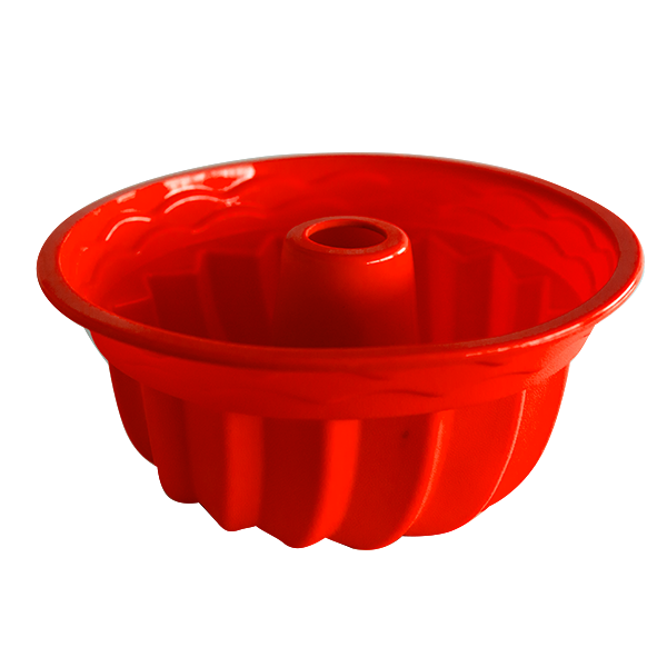 Silicone fluted tube cake pan red