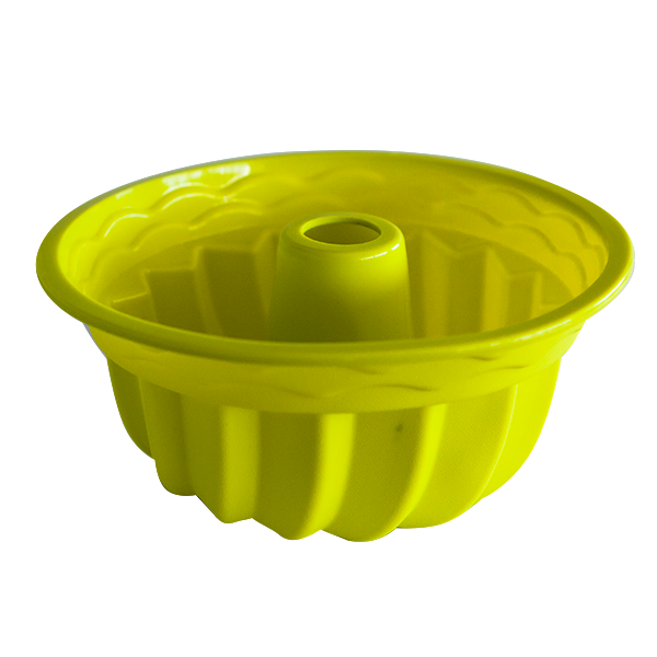 Silicone fluted tube cake pan green