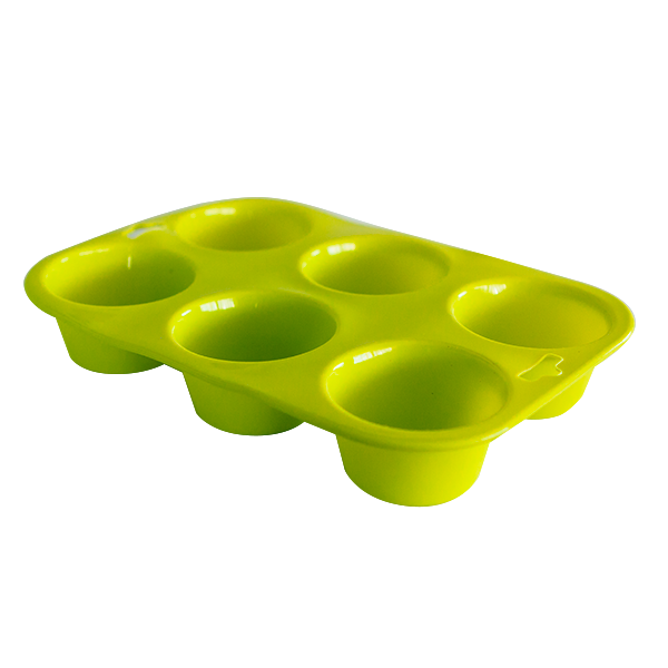 Silicone six cup muffin tray green