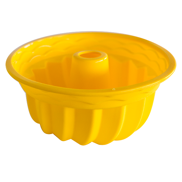 Silicone fluted tube cake pan yellow