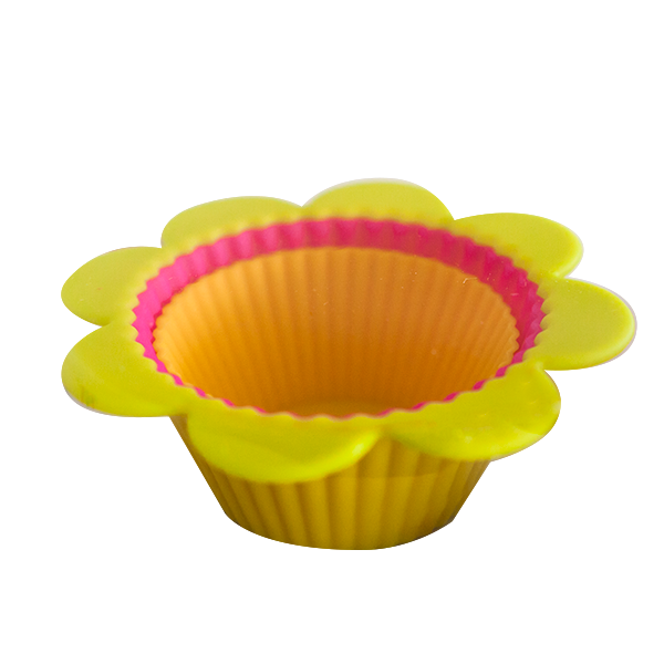Set of 6 silicone flower cupcake cups