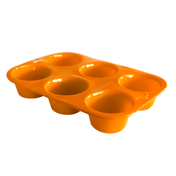 Silicone six cup muffin tray orange