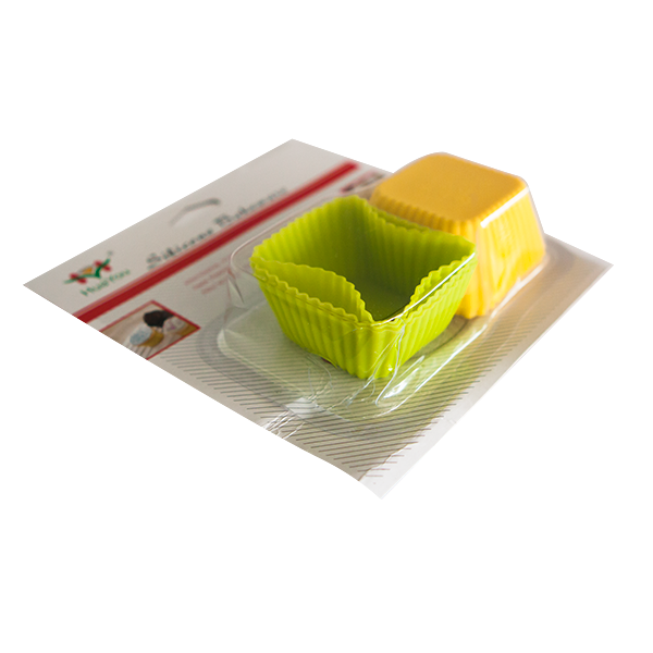 Set of 6 silicone square cupcake cups