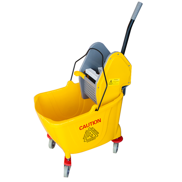 Single mop trolley with wringer yellow 25 litres