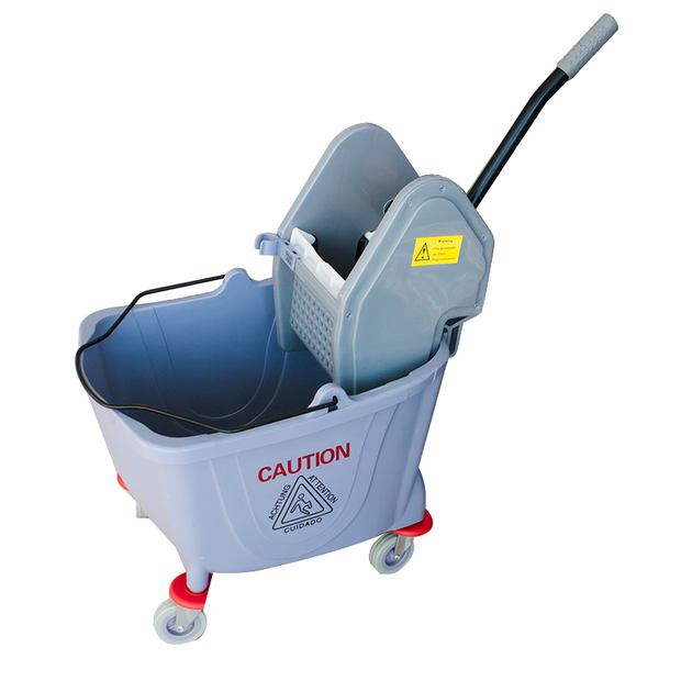 Single mop trolley with wringer grey 25 litres