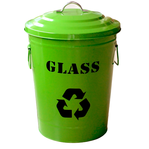 "Round metal recycling bin ""Glass"" green 24.5litres"