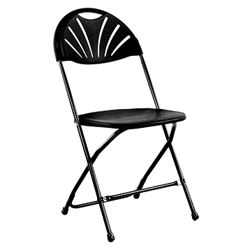 Folding plastic chair black 39cm