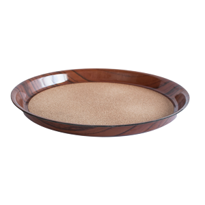Round deep laminated tray with cork surface walnut 36cm