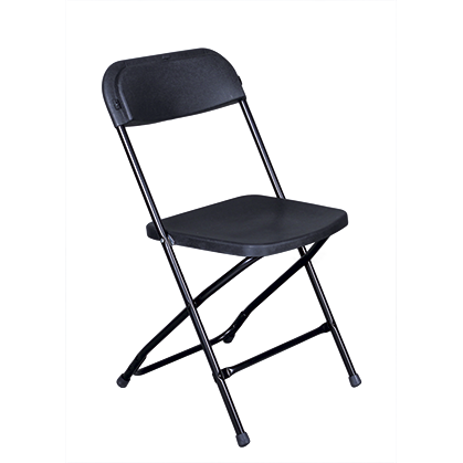 "Folding plastic chair with metal frame ""Classic Black"" 39cm"