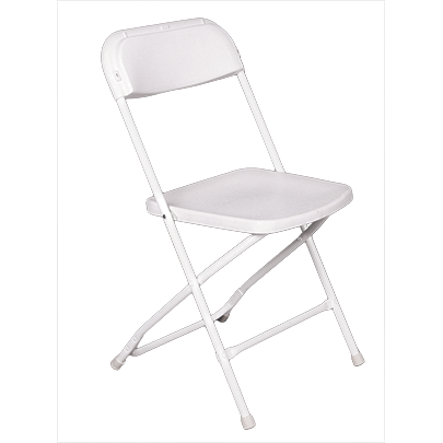 "Folding plastic chair with metal frame ""Classic White"" 39cm"
