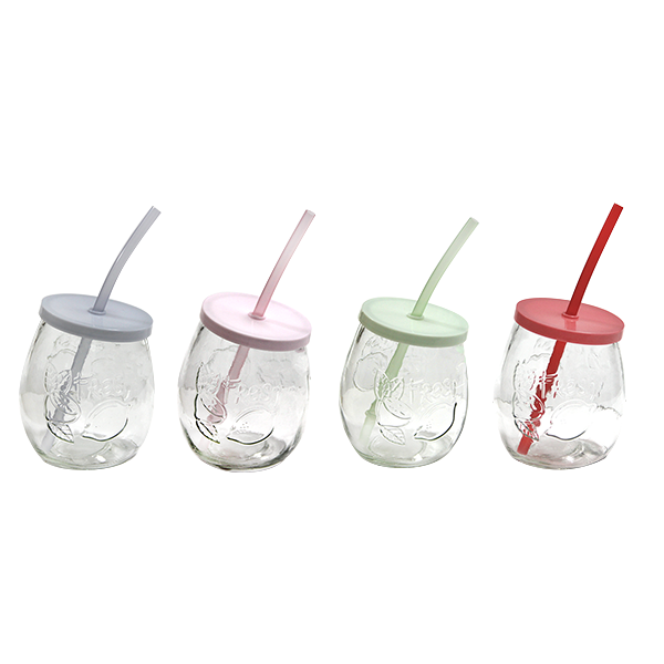 Embossed mason jar with lid and straw 400ml