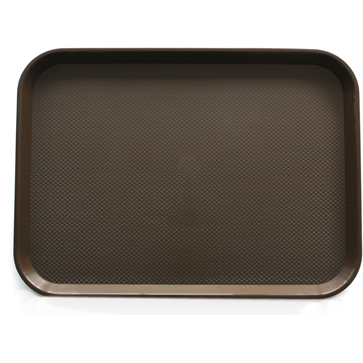 Polypropylene rectangular non-slip serving tray brown 41.5cm