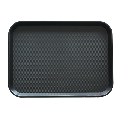Polypropylene rectangular non slip serving tray black 41.5сm