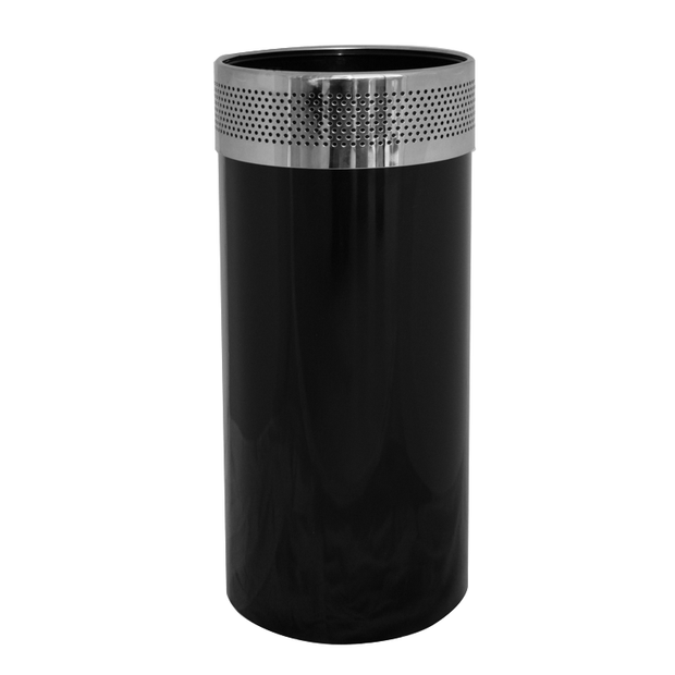 Round metal trash can black with chrome top 30 litres