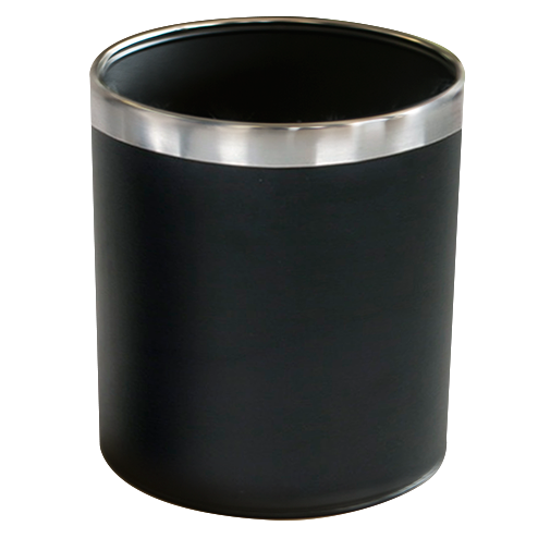 Round trash can black with chrome top 22.5cm
