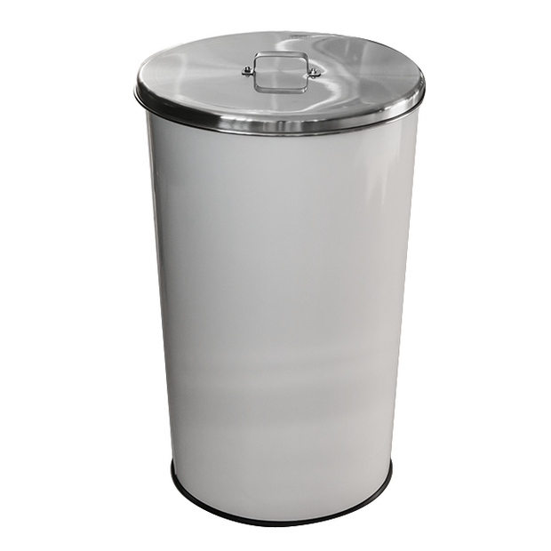 Round metal trash can with lid white 46 litres