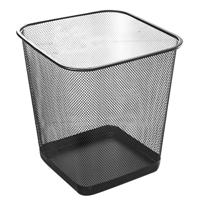 Square metal trash can black 20 litres