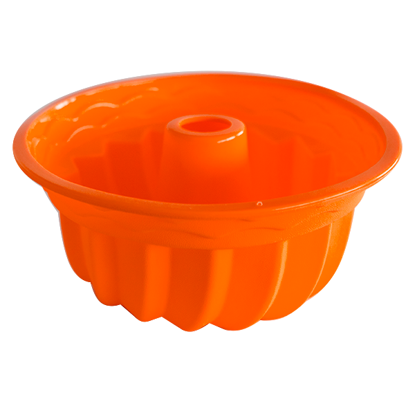 Silicone fluted tube cake pan orange