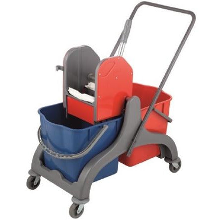 Cleaning trolley with two 25 litre buckets and Wringer