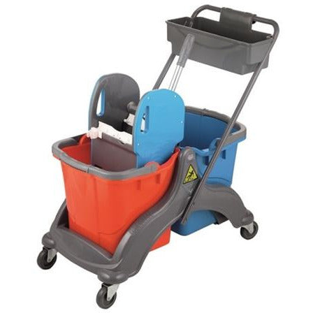 Professional janitor cart with two buckets and mop wringer 2x25 litre buckets