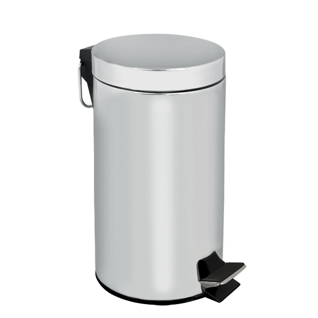 Round metal trash can with treadle lid 30 litres