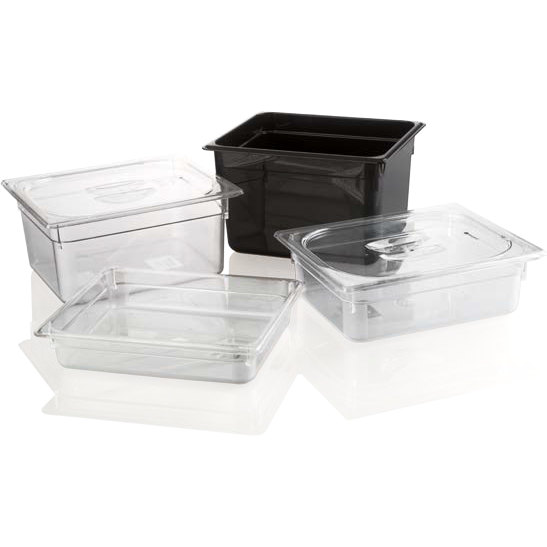 Polycarbonate gastronorm storage container GN 1/2 black 3.9 litres
