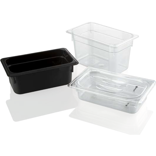 Polycarbonate gastronorm storage container GN 1/4 black 3.7 litres