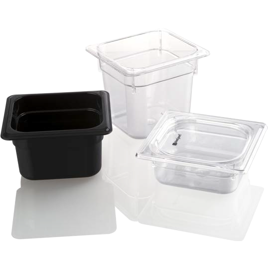Polycarbonate gastronorm storage container GN 1/6 black 1.5 litres