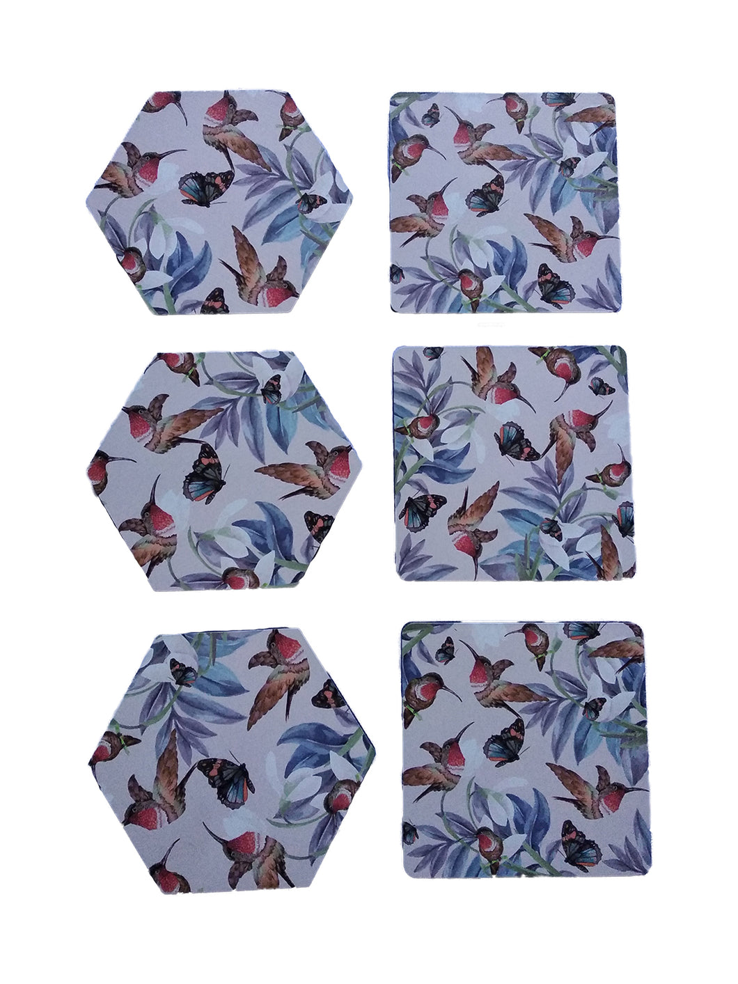 Crayton Bird Floral MDF Coaster with (Hexagon + Square Set)