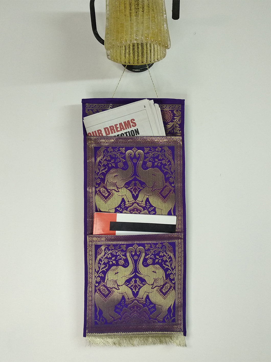 Crayton Purple Pocket Multi Purpose Silk Wall Hanging Magazine Organiser (2 pockets)