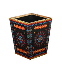 Load image into Gallery viewer, Crayton Geometric Mango Wood Dustbin with Metal Inner