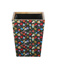 Load image into Gallery viewer, Crayton Floral Mango Wood Dustbin with Metal Inner