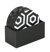 Load image into Gallery viewer, Crayton Black & White MDF Coaster with Holder (Set of 6)