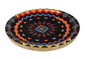Crayton Geometric Round Mango Wood Serving Tray