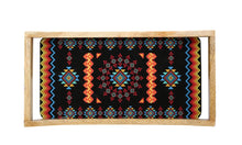 Load image into Gallery viewer, Crayton Geometric Rectangular Mango Wood Serving Tray of 2 (Small, Large)