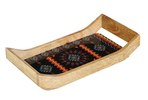 Crayton Geometric Rectangular Mango Wood Small Serving Tray
