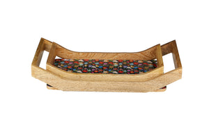 Crayton Floral Rectangular Mango Wood Serving Tray of 2 (Small, Large)