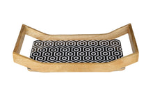 Load image into Gallery viewer, Crayton Black & White Rectangular Mango Wood Large Serving Tray