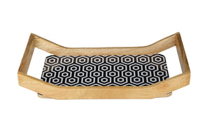 Crayton Black & White Rectangular Mango Wood Large Serving Tray