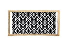 Load image into Gallery viewer, Crayton Black & White Rectangular Mango Wood Small Serving Tray