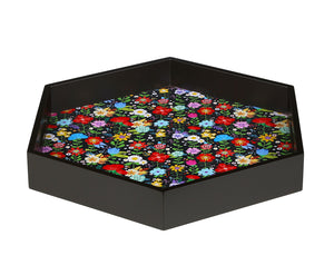 Crayton Floral MDF Hexagon Serving Tray Set of 2