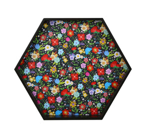 Crayton Floral MDF Large Hexagon Serving Tray