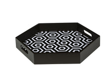 Load image into Gallery viewer, Black & White MDF Hexagon Serving Tray Set of 2
