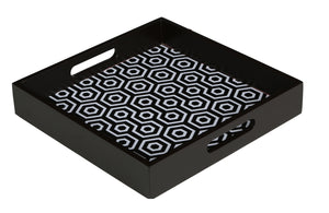 Crayton Black and White MDF Small Square Serving Tray