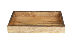 Crayton Rough Edge Border Mango Wood Large Serving Tray